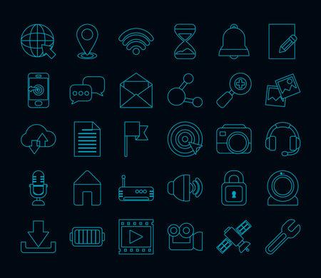icon set of social media over black background, line style, vector illustration