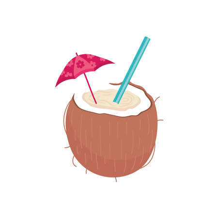 Coconut cocktail with umbrella design, Alcohol drink bar and beverage theme Vector illustration Çizim