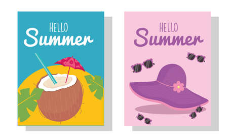 hello summer coconut cocktail hat and glasses design, vacation and tropical theme Vector illustration Çizim