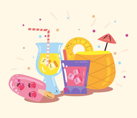cocktails and ice cream flat style icon design, Summer vacation and tropical theme Vector illustration