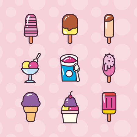 ice cream line and fill style icons collection design, Sweet and dessert theme Vector illustration