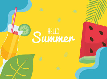 hello summer watermelon and cocktail with leaves design, vacation and tropical theme Vector illustration