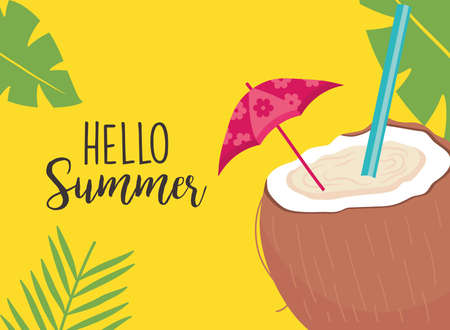 hello summer coconut cocktail with umbrella design, vacation and tropical theme Vector illustration