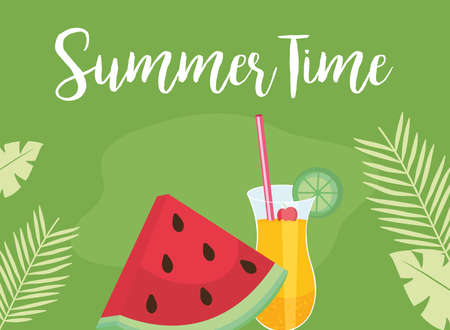 Summer time watermelon and cocktail design, vacation and tropical theme Vector illustration