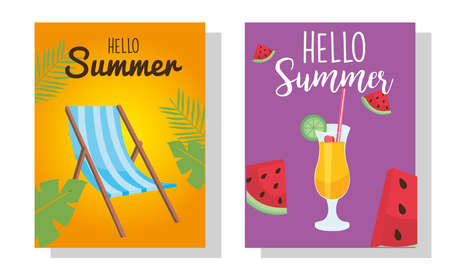 hello summer sun chair cocktail and watermelons design, vacation and tropical theme Vector illustration