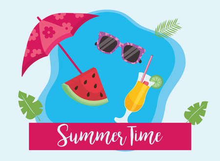 Summer time umbrella watermelon glasses and cocktail design, vacation and tropical theme Vector illustration