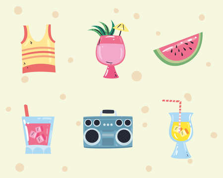 Summer flat style symbol set design, vacation and tropical theme Vector illustration Çizim