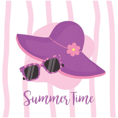 Summer time hat and glasses design, vacation and tropical theme Vector illustration Çizim