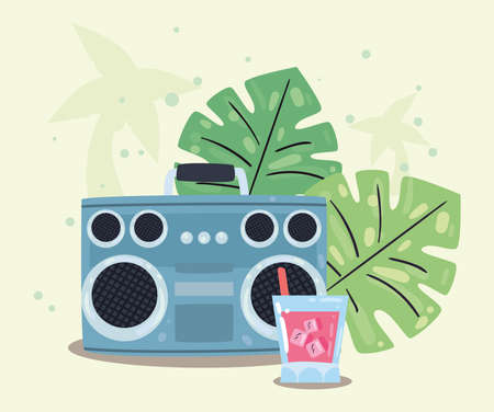 recorder leaves and cocktail flat style icon design, Summer vacation and tropical theme Vector illustration Çizim