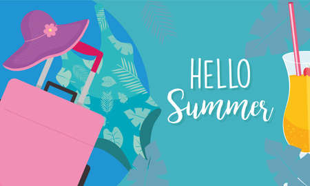 hello summer bag hat and swimwear design, vacation and tropical theme Vector illustration