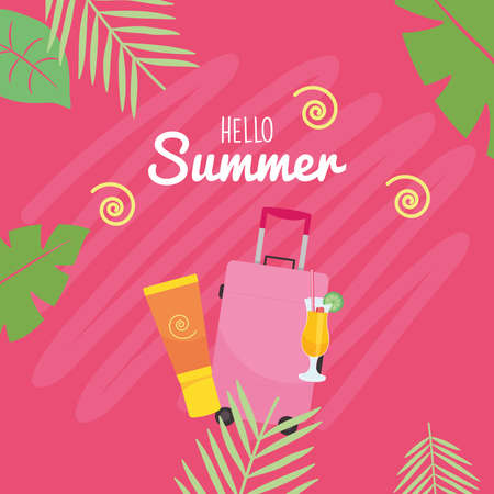 hello summer bag suncream and cocktail design, vacation and tropical theme Vector illustration Çizim