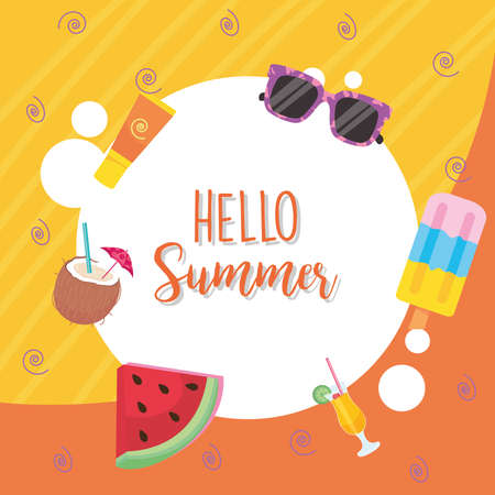 hello summer label with icon set design, vacation and tropical theme Vector illustration