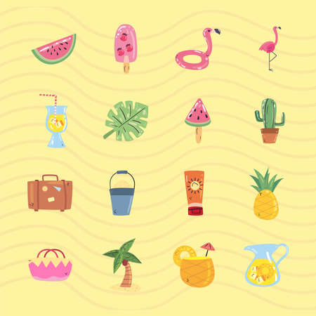 Summer flat style set of icons design, vacation and tropical theme Vector illustration