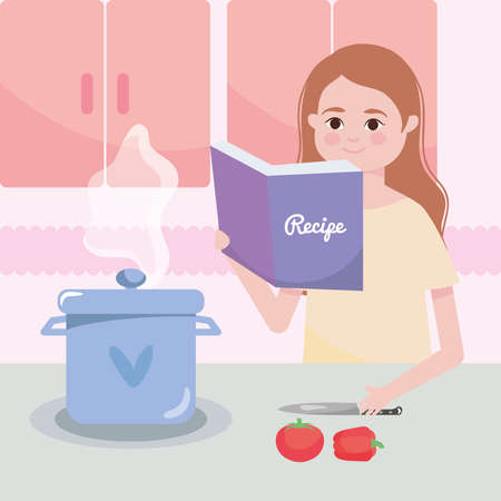 kitchen design with woman reading a recipe book and pot on stove , colorful design, vector illustration