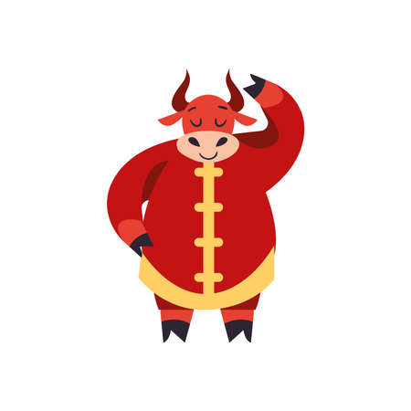 Chinese new year 2021 red bull design, China culture asia and oriental theme Vector illustration