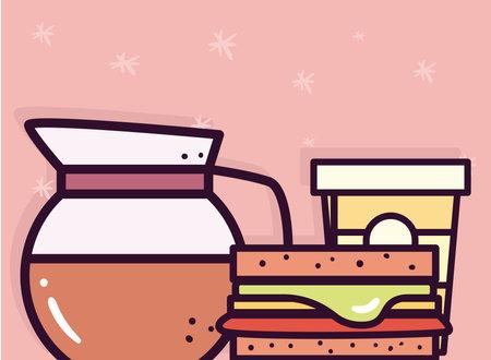 coffee pot mug and sandwich design of food eat restaurant and menu theme Vector illustration