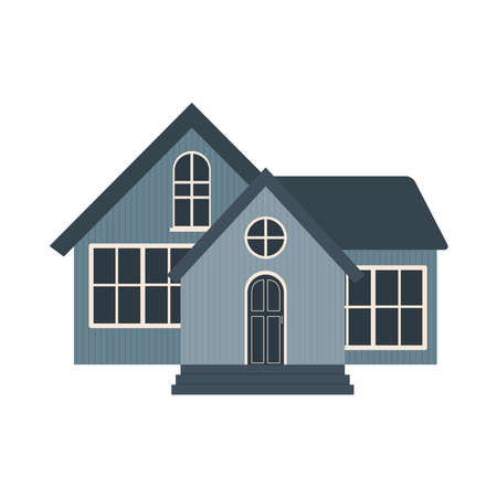 icon of suburban blue house over white background, colorful design, vector illustration