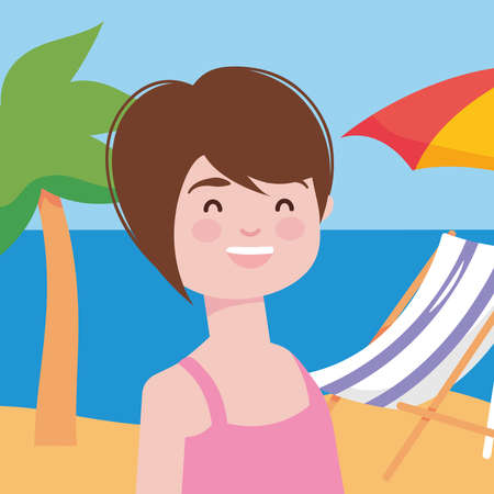 cartoon woman smiling over beach background, colorful design, vector illustration