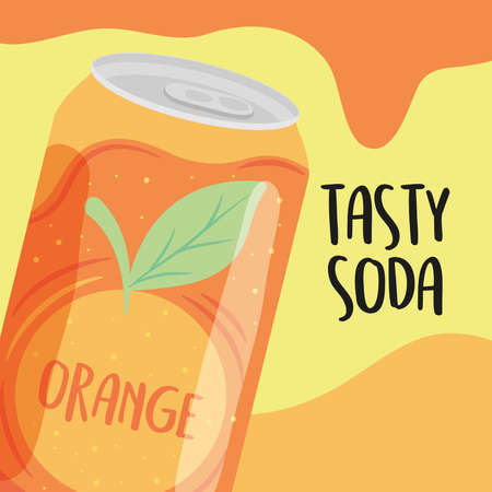 tasty soda design of orange can icon over yellow background, colorful design, vector illustration