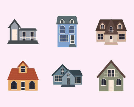 colorful classic houses over pink background, colorful design, vector illustration