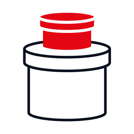 round boxes icon over white background, half line half color style, vector illustration