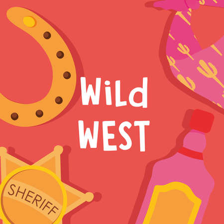 Wild west sheriff star horseshoe and bottle design, Western America and usa theme Vector illustration