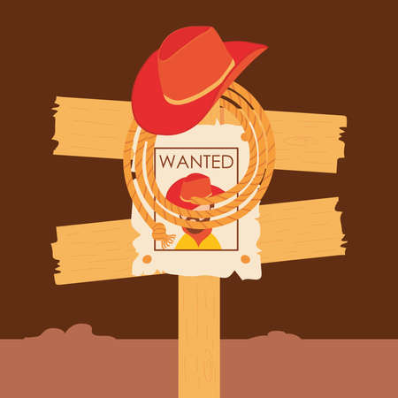 Wild west cowboy man wanted road sign design, Western America and usa theme Vector illustration