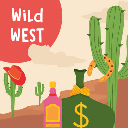 Wild west tequila bottle cactus with hat and money bag design, Western America and usa theme Vector illustration Ilustração