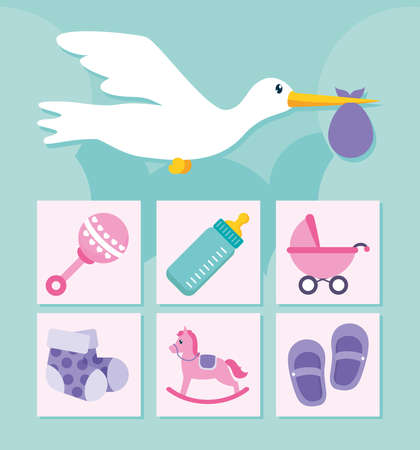 stor and baby shower icon set over blue background, flat style, vector illustration