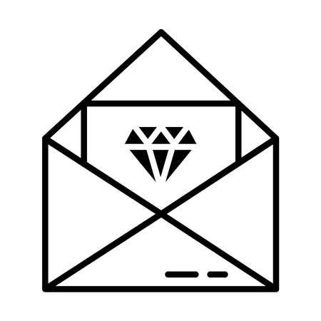 Envelope with card with a diamond icon over white background, line style, vector illustration
