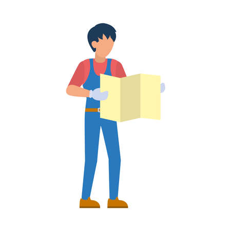 cartoon worker holding a construction plans over white background, flat style, vector illustration
