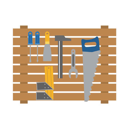 wooden stand with construction tools over white background, flat style, vector illustration