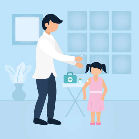 doctor giving a girl a vaccine over blue background, flat style, vector illustration