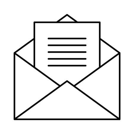 envelope and page over white background, line style, vector illustration