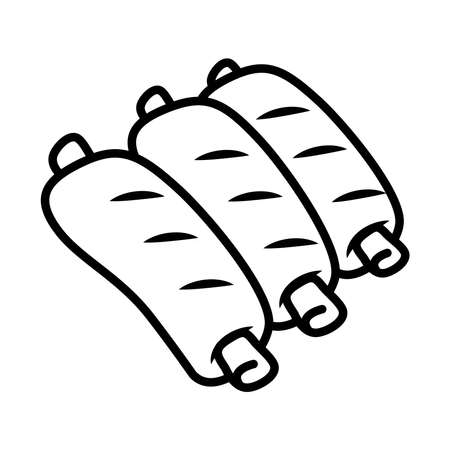 pork ribs icon over white background, line style, vector illustration