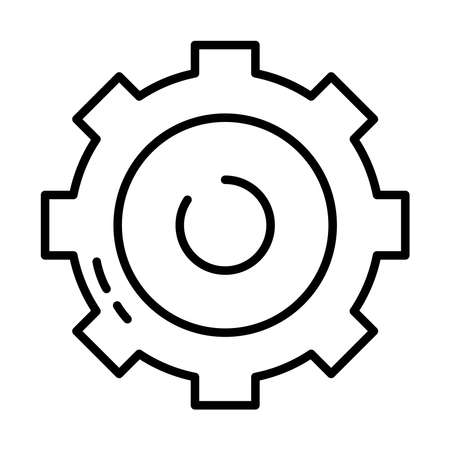 gear wheel icon over white background, half line style, vector illustration