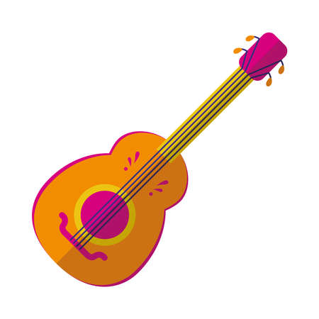 guitar instrument icon over white background, colorful design, vector illustration