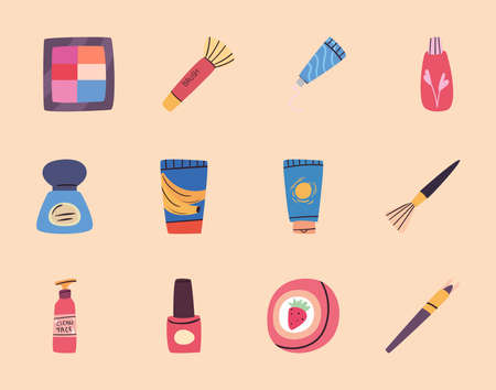Make up and cosmetic set design, fashion style and skin theme Vector illustration