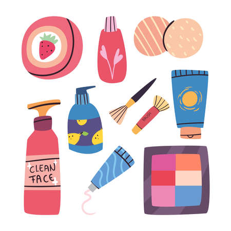 Make up and cosmetic set of icons design, fashion style and skin theme Vector illustration