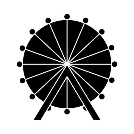 ferris wheel icon over white background, silhouette style, vector illustration