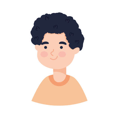 cartoon boy smiling icon over white background, colorful design, vector illustration 向量圖像