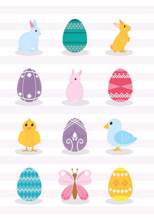 cute bunnies and easter icon set, colorful design, vector illustration