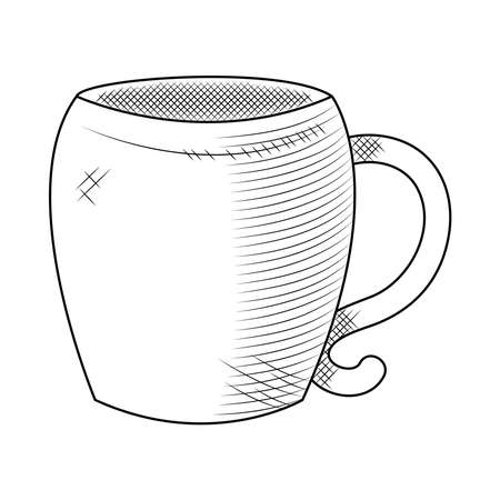 coffee mug icon over white background, sketch style, vector illustration