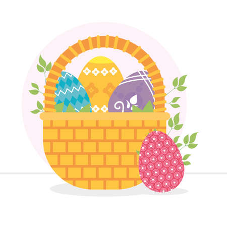 basket with easter eggs and decorative leaves around over white background, colorful design, vector illustration