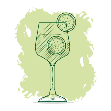 gin tonic cocktail, sketch style, vector illustration 向量圖像
