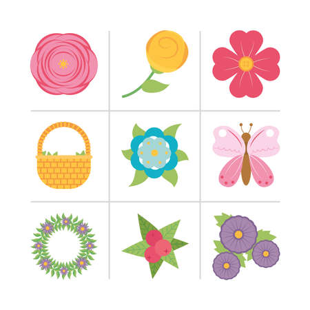 butterfly and flowers icon set over white background, colorful design, vector illustration 向量圖像