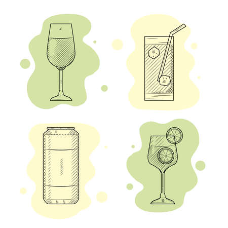 cocktail drinks icon set, sketch style, vector illustration 向量圖像