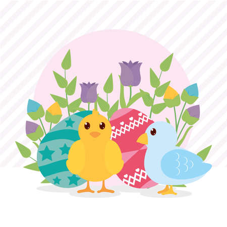 cute chick and bird with beautiful easter eggs and flowers over striped pink background, colorful design, vector illustration 向量圖像