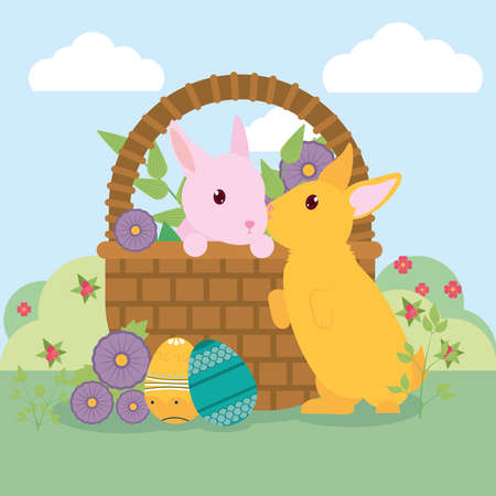 happy easter design with basket with cute rabbits, flowers and easter eggs over landscape background, colorful design, vector illustration