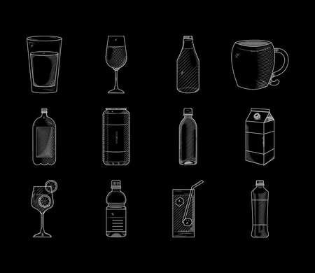 icon set of drinks, vector illustration